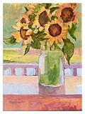 Sunflowers in Green Jug